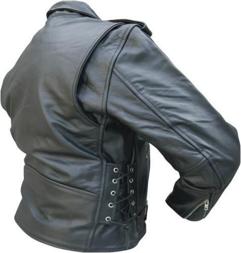 Buffalo Leather Motorcycle Biker Jacket Zipout Lining & Side-laces