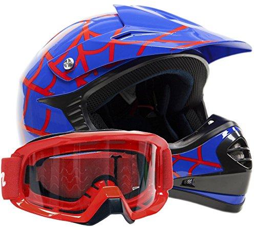 Kids Youth Offroad Gear Combo Helmet Goggles DOT Motocross ATV Dirt Bike - Blue Spiderman - Medium