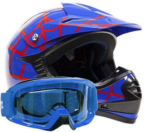 Kids Youth Offroad Gear Combo Helmet Goggles DOT Motocross ATV Dirt Bike - Blue Spiderman - XL