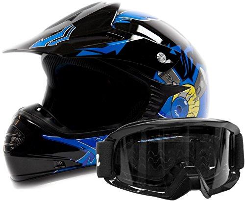 Kids Youth Offroad Gear Combo Helmet Goggles DOT Motocross ATV Dirt Bike MX Blue Black Crazy Eye Medium