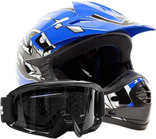 Kids Youth Offroad Gear Combo Helmet Goggles DOT Motocross ATV Dirt Bike MX Motorcycle Blue Black Medium