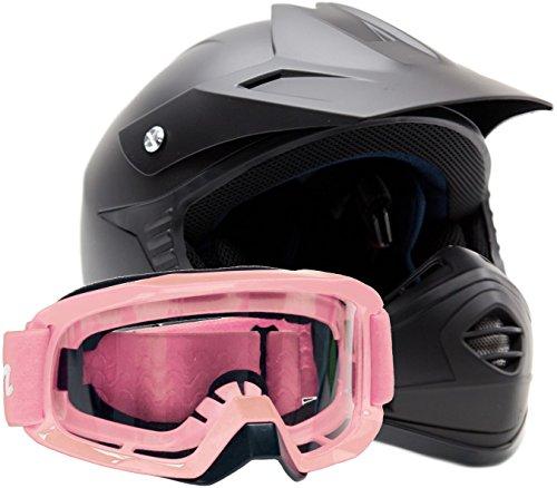Kids Youth Offroad Gear Combo Helmet Goggles DOT Motocross ATV Dirt Bike MX Motorcycle Pink Matte Black medium