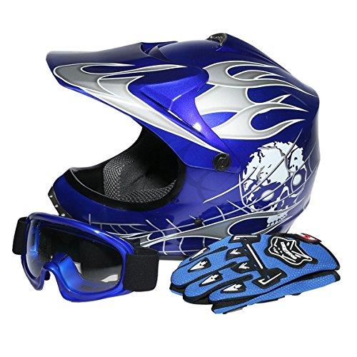 Tengchang Youth Blue Skull Dirt Bike ATV Motocross Quads ATV Helmet GogglesGloves L