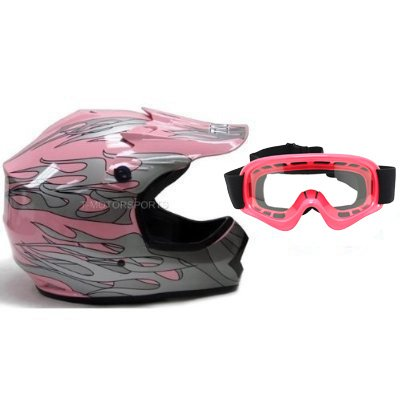 TMS Youth Kids Pink Dirt Bike ATV Motocross Helmet with Goggles Medium