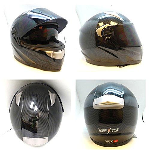 1storm Motorcycle Street Bike Dual Visor Full Face Helmet Carbon Fiber Black, Size Medium (55-56 Cm,21.7/22.0