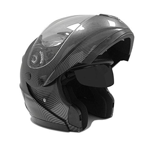 Motorcycle Modular Full Face Helmet Flip-up Dual Visor Dot Street Legal - Carbon Fiber - Large