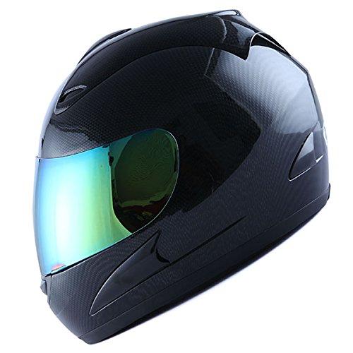 Wow Motorcycle Street Bike Full Face Helmet Carbon Fiber Black