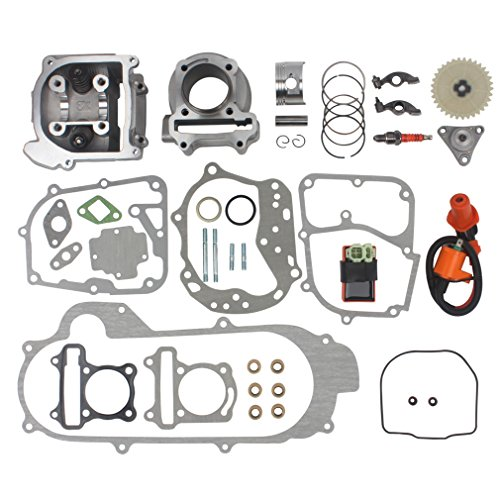 Wingsmoto 100cc Big Bore Kit for 69mm Valve GY6 49CC 50CC 139QMB Moped Scooter Engine 50mm Bore Upgrade Set with Racing CDI Ignition Coil Performance Spark Plug 69mm Valve Length