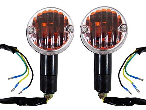 Kawasaki GPZ 750 GPZ 900 Black Motorcycle Turn Signal Indicator BlinkersRunning Lights Combo 3 Wire Pair