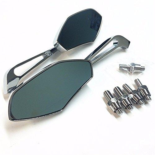 aluminum Chrome mirrors Fit most motorcycle with 8mm or 10mm clockwise Honda Suzuki Kawasaki Yamaha Harley handlebar mount by SMT