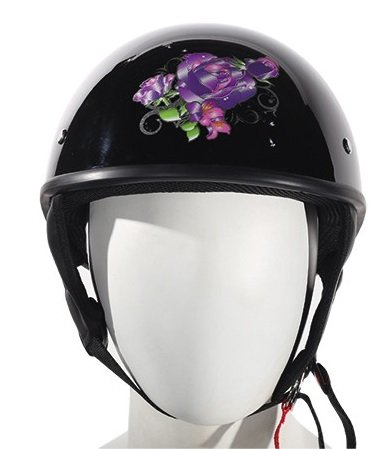 Dot Womens Gloss Black Purple Rose Motorcycle Half Helmet size S Sm Small