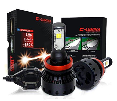 DLUMINA H11 H8 H9 LED Headlight Bulbs Conversion Kit CREE XHP50 8000Lm 6000K Xenon White Low Beam Headlamp High Beam Headlights Fog Light HID or Halogen Head light Replacement - 3 Year Warranty