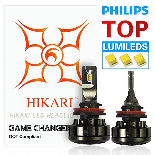 HIKARI LED Headlight Bulbs Conversion Kit -H11 H8H9Philips Lumileds 12000lm 6K Cool White2 Yr Warranty