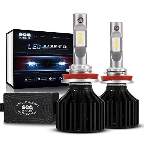 LED Headlight Bulbs H11H8H9 Conversion Kit  DOT Approved  SEALIGHT X2 Series DRL Low beamFog Light Bulbs - 16x CSP Les Auto Headlight LED Bulbs-8000LM 6000K Xenon White
