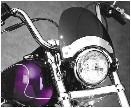 National Cycle Fork Mount Flyscreen Windshield For Harley Davidson FX 1971-2005  Honda CB250 Nighthawk 1991-2008  CMX250C Rebel 1985-1987 and 1996-2006  CMX450C Rebel 1986-1987  Triumph Adventurer 1996-2002 - Chrome Plate Dark Smoke - N2531
