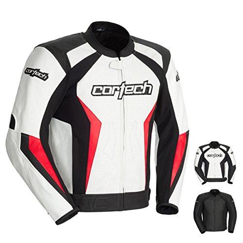 Cortech Latigo 2.0 Men's Leather Motorcycle Jacket (white/red, Xx-large)