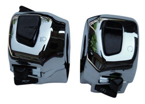 Yana Shiki RTS100BSJ Chrome Handlebar Switch Housing Set for Suzuki Motorcycles