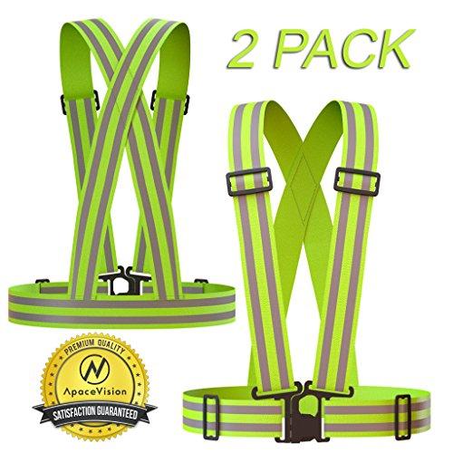 Reflective Vest (2-pack) | Lightweight, Adjustable & Elastic | Safety & High Visibility For Running, Jogging,