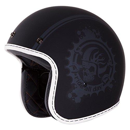 34 Retro Helmet DOT- Ride All Day Open Face Matte Black Grey Skull Helmet by IV2 M