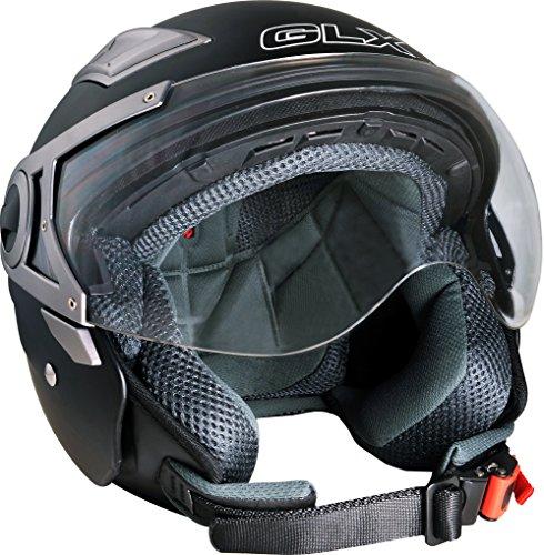 GLX Open Face Dual Visor Scooter Motorcycle Helmet Matte Black X-Large