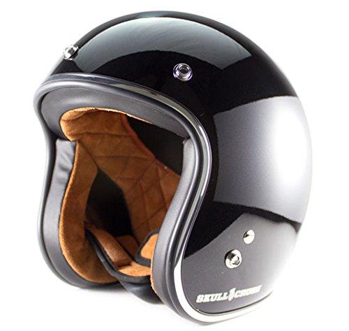 Skull Crush Open Face 34 Helmet Large Gloss Black