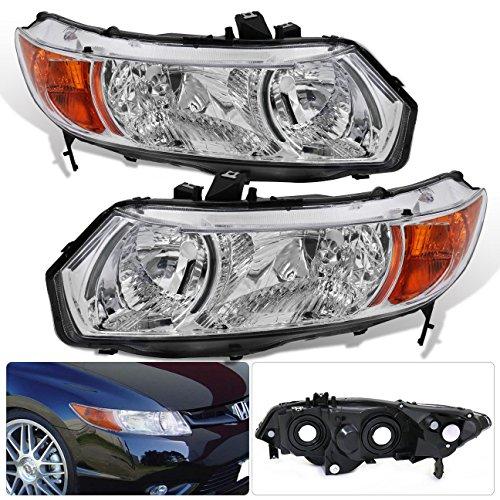 Honda Civic Coupe 2 Door 1 Piece Chrome Housing Clear Lens Amber Reflector Corner JDM Upgrade Replacment Assemebly Headlights