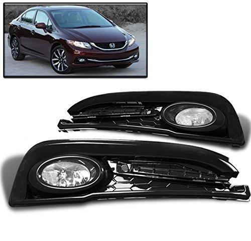 ZMAUTOPARTS 15 Honda Civic Sedan 4Dr Bumper Driving Fog Lights Lamp Chrome WBulbSwitch