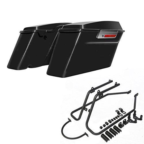 ASD Vivid Black Hard Saddlebags W Black Saddle bag Conversion Mount Bracket Kit For 2004-2017 Harley Davidson Sportster 1200 883 Roadster
