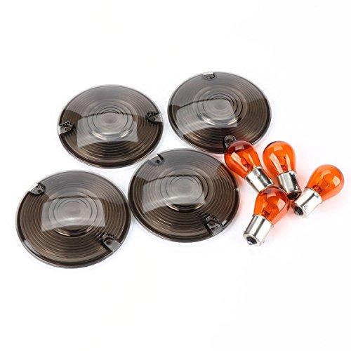 Cococart 3 14 Smoked Turn Signal Lenses Kit&Amber Bulbs for Harley Davidson Electra Glides Road King Black Smoked