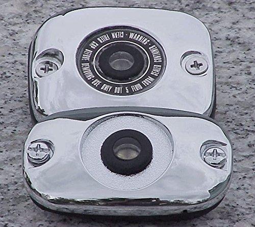 i5 Chrome Brake Fluid Caps to fit Harley Davidson Electra Glide Fat Boy Road King Softail