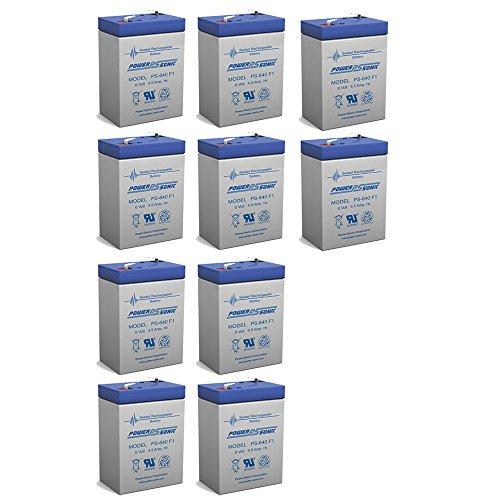 6V 45AH Rechargeable Sealed Lead Acid SLA Battery for Exit Lights - 10 Pack