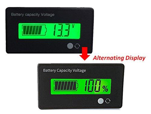 12V Battery Fuel Gauge 12V Lead Acid Battery SLA Battery Tester Battery Meter For ATVQuads and 4 WheelersStages Power Meter Battery 12V SLA Fuel Gauge with Green LCD