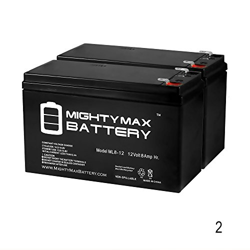 12V 8Ah Scooter Bike Battery Replaces 7Ah High HGH 6-DFM-7 - 2 Pack - Mighty Max Battery brand product