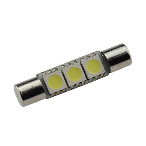 100lighting 24V Festoon 31mm 3 SMD 5050 Chipset LED Light Bulbs Car Interior Sun Visor Vanity Mirror Replacement Light For 3021 DE3022 3175 DE3025 White Pack of 10