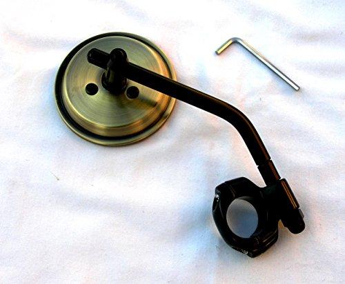 """Mr Luckys Antique Brass 3 Inch Mirror Black Stem Clamp for 1"""" 78 Handlebars for Harley Bobber Chopper Retro Custom"""