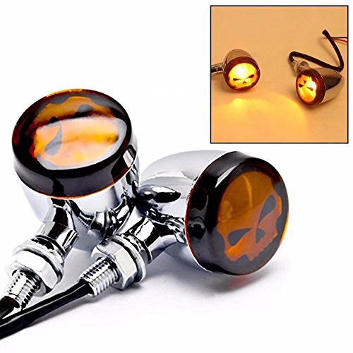 Jahyshow Pair of Skull Turn Signal Lights Motorcycle Chrome Indicator for Harley Dyna Sportster Bobber Cruiser Silver