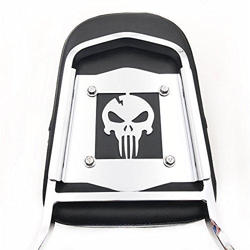 SMT MOTO- Detachable Backrest Sissy Bar Chrome Skull For 84 - 99 Harley Softail FXSTC FLSTC