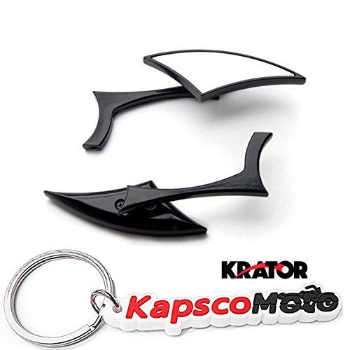 Krator Black Diamond Twist Universal Custom Motorcycle Mirrors - Free Adapters Mirrors Fits Most Harley Davidsons Suzuki Honda Kawasaki Cruisers  KapscoMoto Keychain