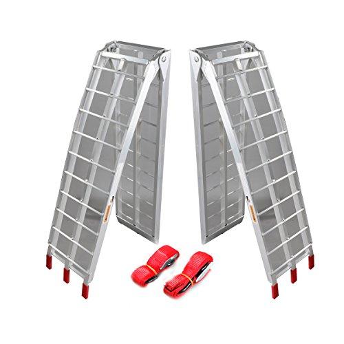 Pair 75 ft Folding Loading Ramp 1500 lb Heavy Duty Aluminum Plate ATV UTV Dirt Bike Truck Motorcycle Arcingle Arched Ramps
