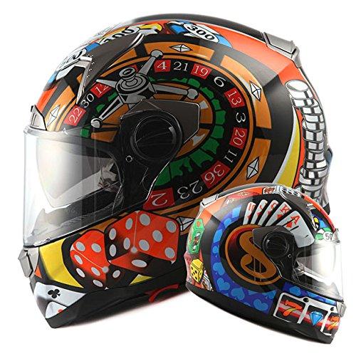 1STorm Motorcycle Street Bike Dual VisorSun Visor Full Face Helmet Roulette Wheel Lucky Card Black Size Large 57-58 CM224228 Inch
