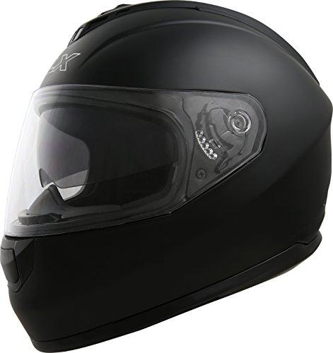 GLX Dual Visor Full Face Motorcycle Street Bike Helmet Matte Black Large