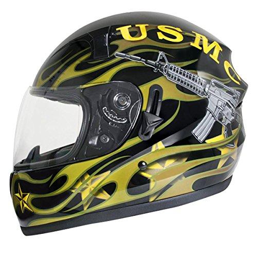 Hawk ST-1150 Glossy Dual Visor Full Face Motorcycle Helmet with US Marines Gr - Medium