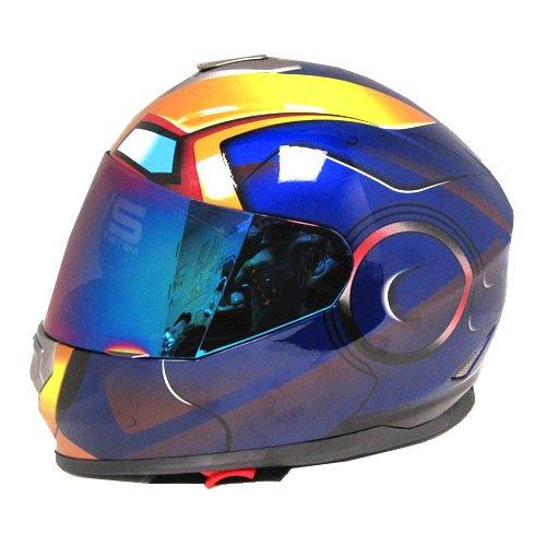 Iron Man DOT Motorcycle Bike Dual Visor Full Face Helmet Golden Blue Size XXL 61-62 CM240248 Inch