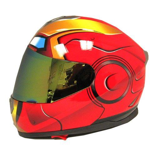 Iron Man DOT Motorcycle Bike Dual Visor Full Face Helmet Golden Red Size Medium 55-56 CM217220 Inch
