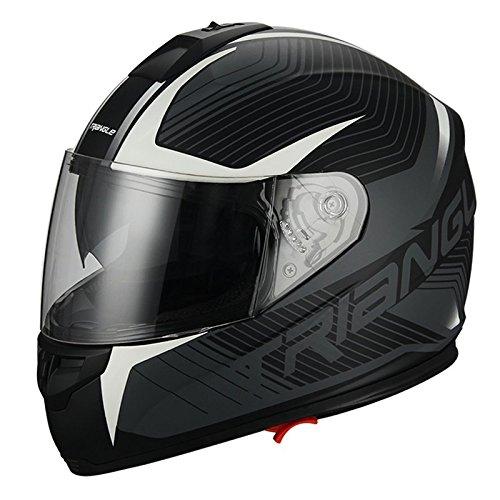 Full Face Matte White Dual Visor Street Bike Motorcycle Helmet for Triangle DOT Medium