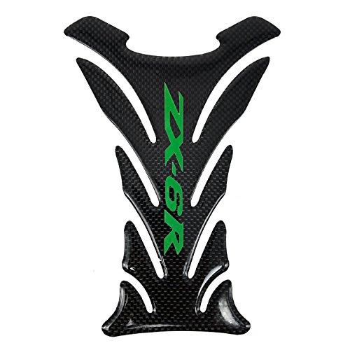 5 Layer Real Carbon Fiber 3D Green Sticker Vinyl Decal Emblem Protection Gas Tank Pad For Kawasaki All ZX6R