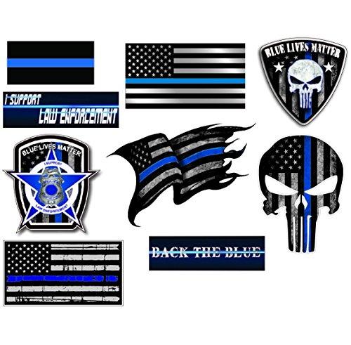 Mega Variety Pack of Thin Blue Line Police Officer Blue Lives Matter American Flag vinyl decal sticker Car Truck BLM 9 Pack