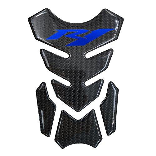 Real Carbon Fiber 3D Blue Sticker Vinyl Decal Emblem Protection Gas Tank Pad For Yamaha R1
