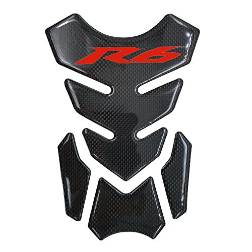 Red Real Carbon Fiber 3D Sticker Vinyl Decal Emblem Protection Gas Tank Pad For Yamaha YZF R6