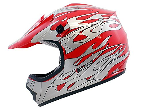 TMS Youth Kids Red Flame ATV Motocross Dirt Bike Off-Road MX Gear Helmet DOT Small